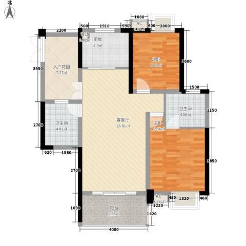 世纪城龙禧苑2室1厅2卫1厨105.00㎡户型图