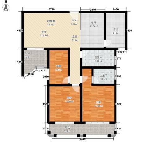 一品名人居3室0厅2卫1厨173.00㎡户型图
