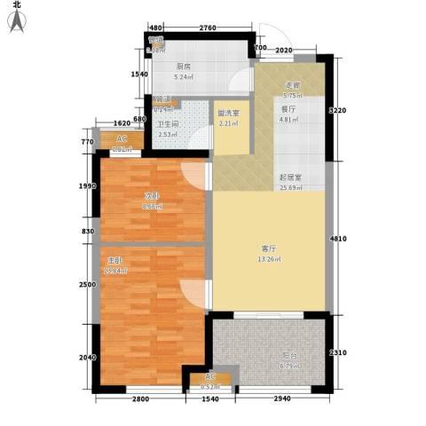 天正理想城2室0厅1卫1厨74.00㎡户型图