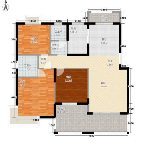 白沙世纪佳园3室0厅2卫1厨152.00㎡户型图