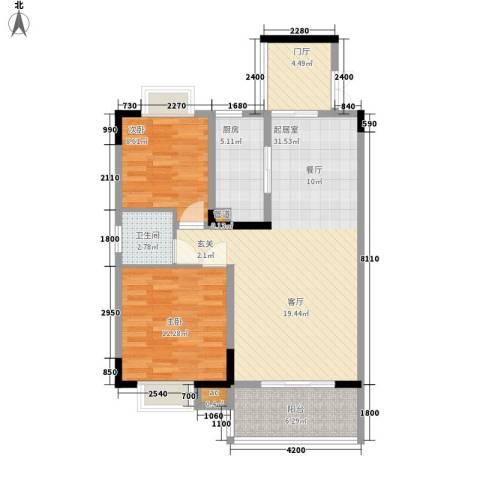 天城泰祥苑2室0厅1卫1厨102.00㎡户型图