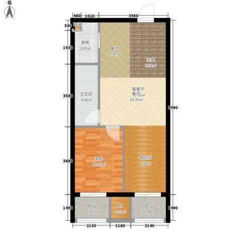 居易青年城1室1厅1卫1厨63.00㎡户型图