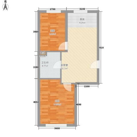 吉热东方二区2室0厅1卫0厨69.00㎡户型图