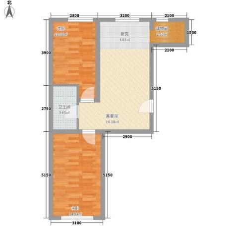 吉热东方三区2室0厅1卫0厨74.00㎡户型图