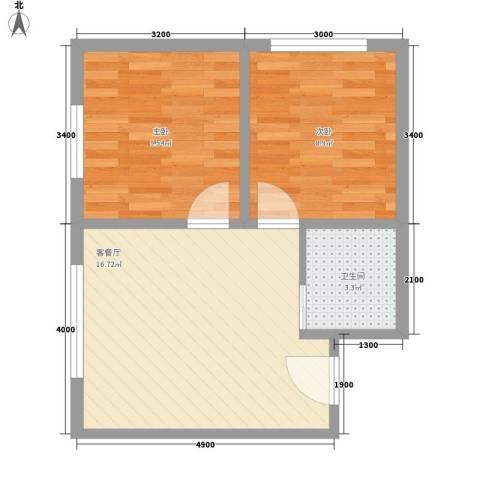 吉热东方三区2室1厅1卫0厨54.00㎡户型图