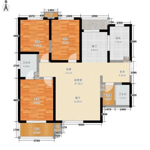 美寓华庭三期高新尚居3室0厅2卫1厨132.00㎡户型图