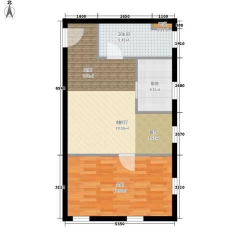 桐梓坡小区1室1厅1卫1厨46.15㎡户型图
