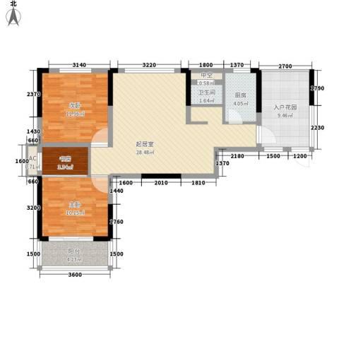 麓江春3室0厅1卫1厨91.00㎡户型图