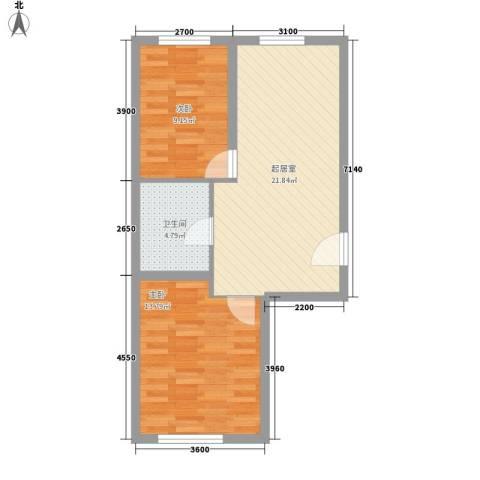 紫荆花园2室0厅1卫0厨70.00㎡户型图
