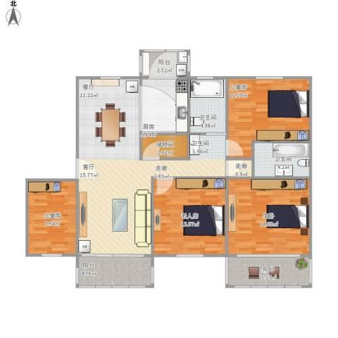 大上海国际花园4室1厅2卫1厨147.00㎡户型图