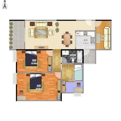 富力城时光里3室1厅1卫1厨139.00㎡户型图