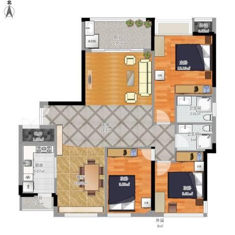 中洋城中经典3室1厅2卫1厨126.00㎡户型图