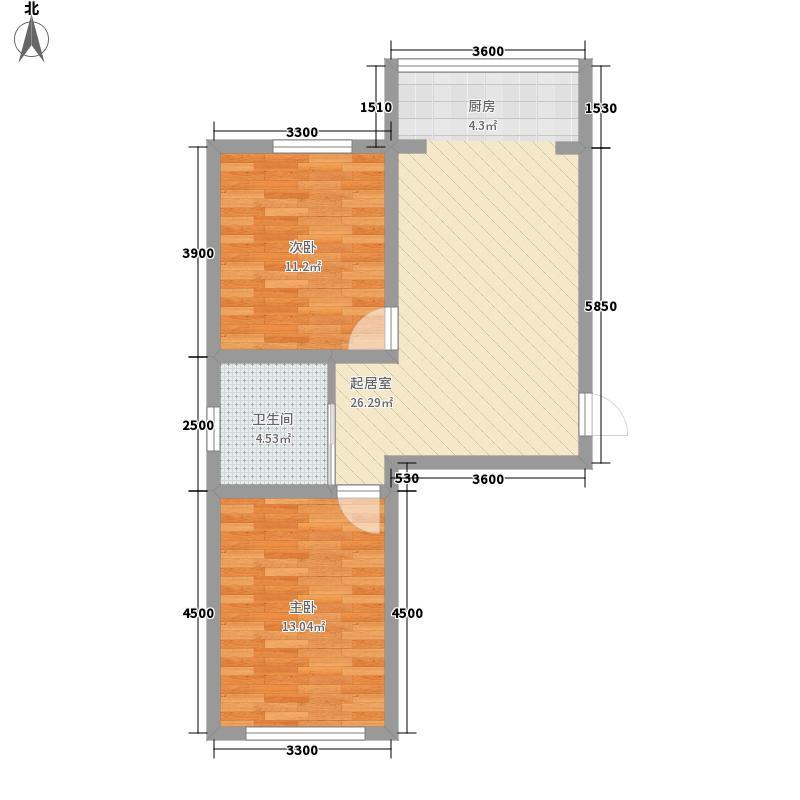 龙山峻景71.68㎡C1户型2室1厅1卫1厨