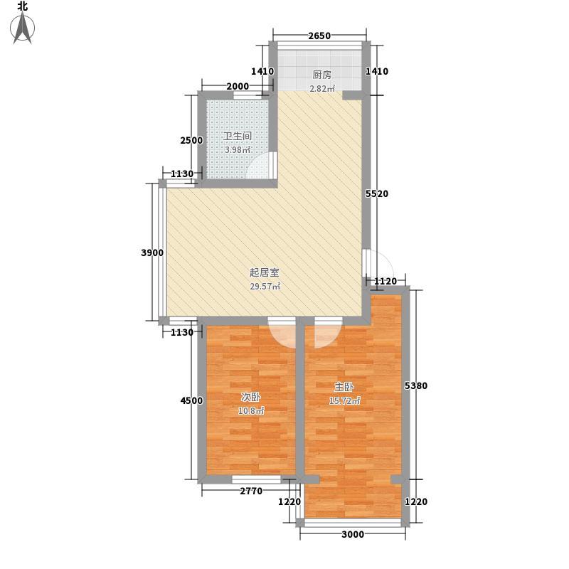 龙山峻景3.00㎡E1户型2室2厅1卫1厨