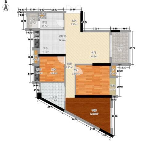 新天地华庭三期2室0厅1卫1厨90.00㎡户型图