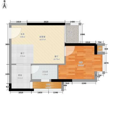 新天地华庭三期1室0厅1卫1厨45.00㎡户型图