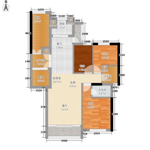 尊尚海的GOLF3室0厅2卫1厨77.00㎡户型图