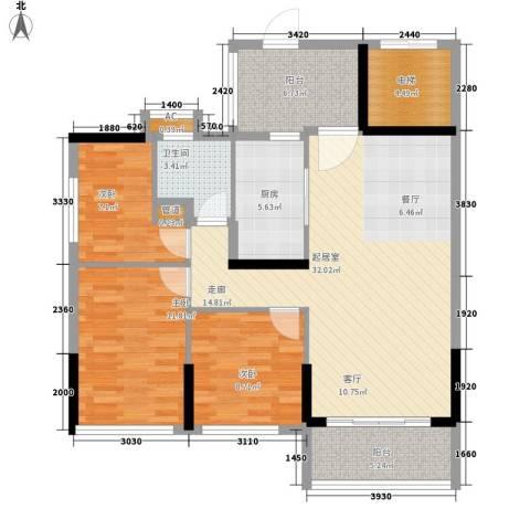 敏捷・金月湾3室0厅1卫1厨123.00㎡户型图