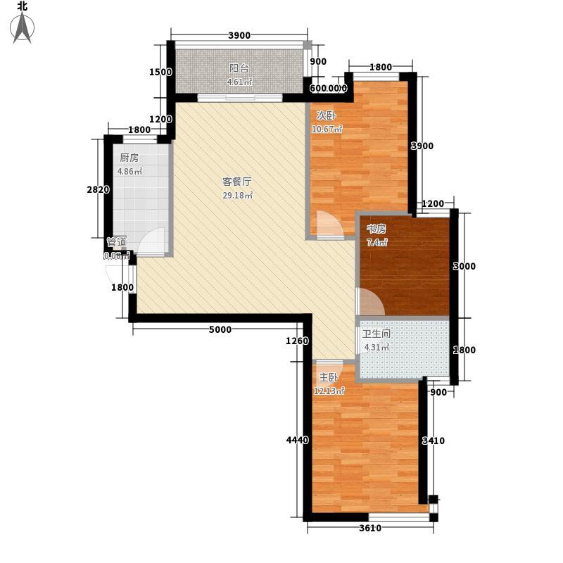 东都国际4.62㎡-D户型3室2厅1卫1厨
