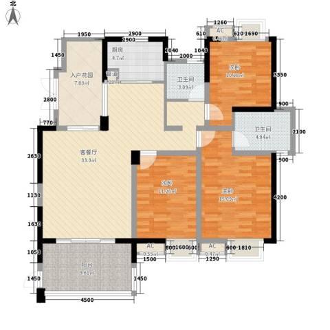 世纪城龙禧苑3室1厅2卫1厨132.00㎡户型图