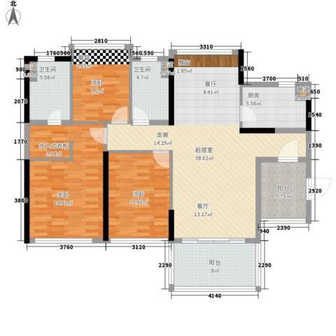 敏捷・金月湾3室0厅2卫1厨153.00㎡户型图
