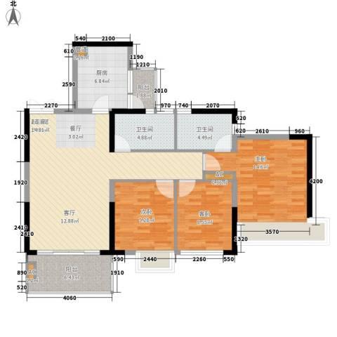 左岸美邻3室0厅2卫1厨120.00㎡户型图