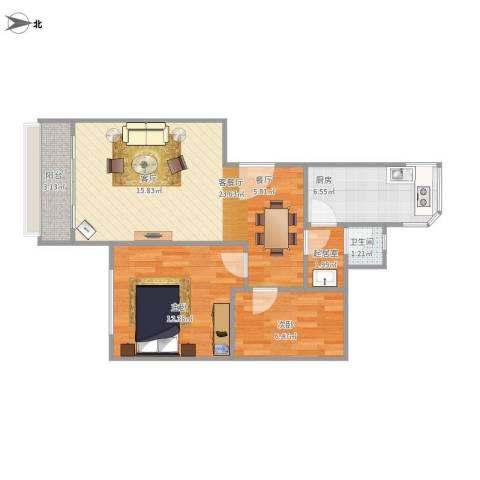 比华利山庄2室1厅1卫1厨75.00㎡户型图
