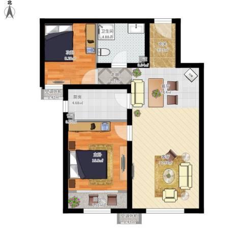 首创·悦都汇2室1厅1卫1厨89.00㎡户型图