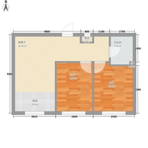 幸福人家2室1厅1卫0厨60.00㎡户型图