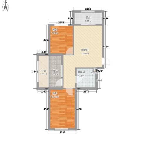 幸福人家2室1厅1卫1厨73.00㎡户型图