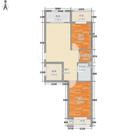 幸福人家2室1厅1卫1厨72.00㎡户型图