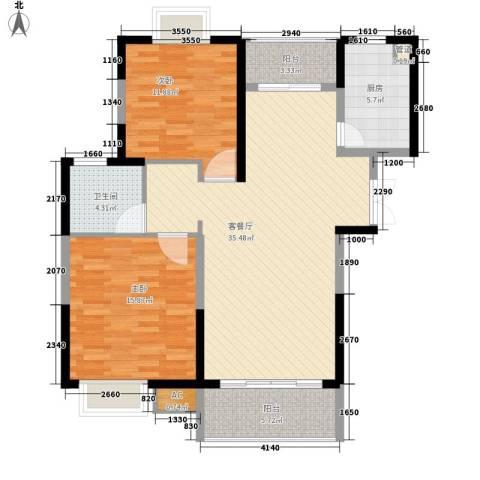 新天地华庭二期2室1厅1卫1厨118.00㎡户型图