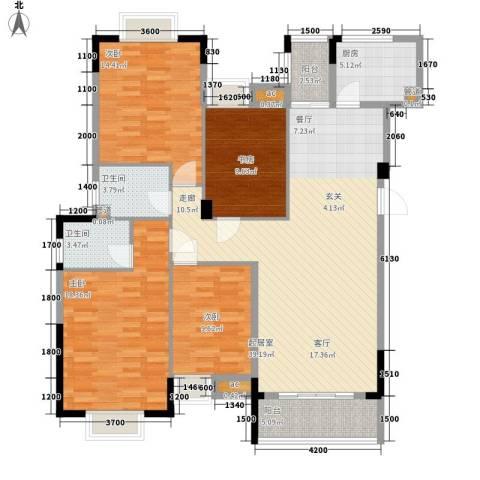 景湖蓝郡二期别墅4室0厅2卫1厨157.00㎡户型图