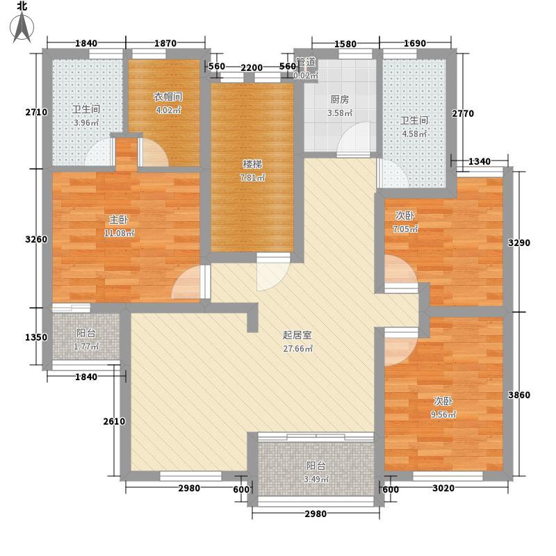 罗山花苑二期124.61㎡罗山花苑二期124.61㎡3室2厅2卫1厨户型3室2厅2卫1厨