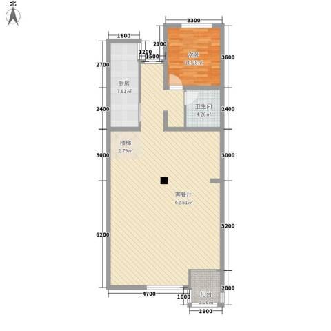 铭仁家园1室1厅1卫1厨122.00㎡户型图