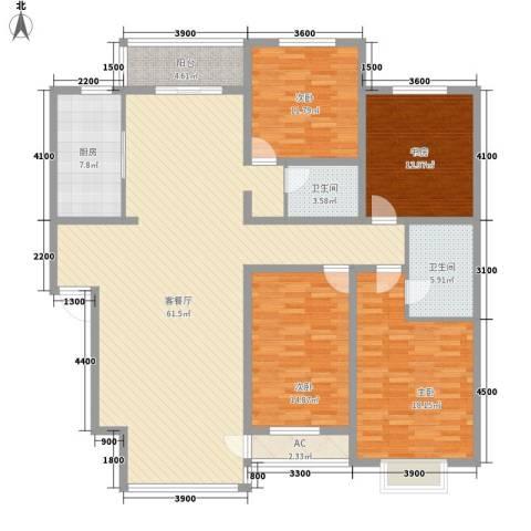 铭仁家园4室1厅2卫1厨203.00㎡户型图