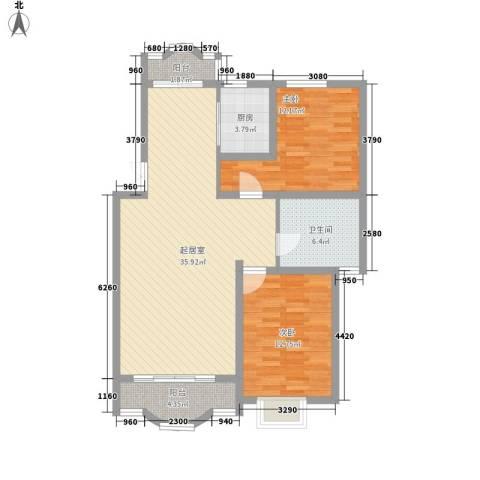 亚都名苑2室0厅1卫1厨111.00㎡户型图
