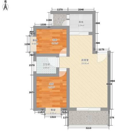 旭辉园2室0厅1卫1厨55.00㎡户型图