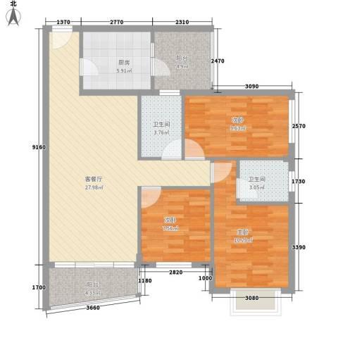 金古大厦3室1厅2卫1厨110.00㎡户型图