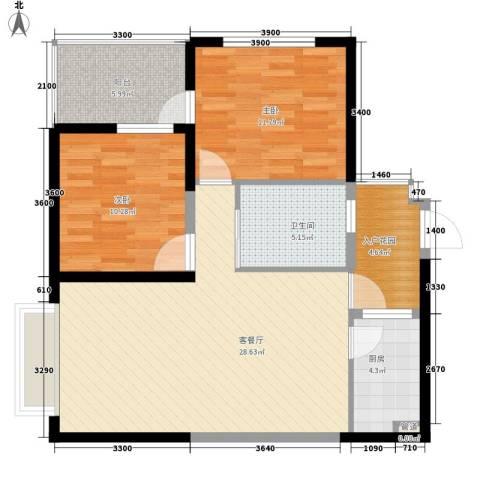 新天地华庭二期2室1厅1卫1厨70.85㎡户型图