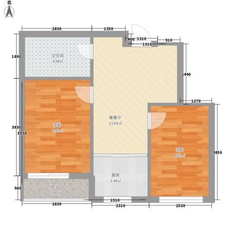 长兴铭岛仕家2室1厅1卫1厨59.00㎡户型图