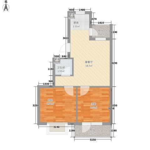 长兴铭岛仕家2室1厅1卫0厨63.00㎡户型图