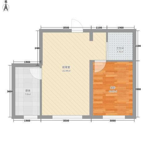 阳光新城三期中央街区1室0厅1卫1厨57.00㎡户型图