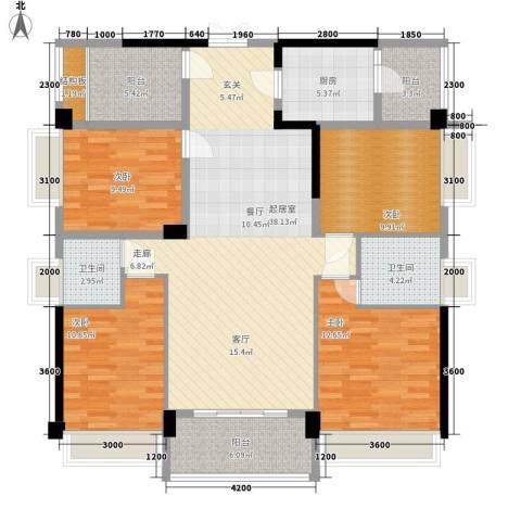 振业小区4室0厅2卫1厨155.00㎡户型图