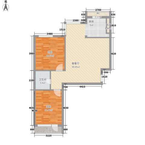 长兴铭岛仕家2室1厅1卫0厨94.00㎡户型图