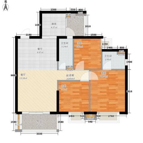 恒安大厦3室0厅2卫1厨80.00㎡户型图