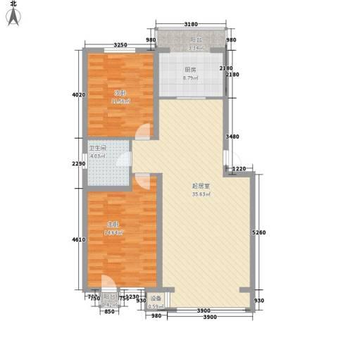 大禹城邦2室0厅1卫1厨108.00㎡户型图