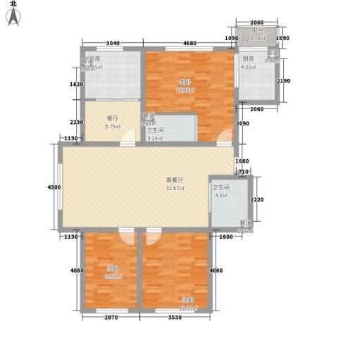 天一朝阳地矿花园3室2厅2卫2厨148.00㎡户型图
