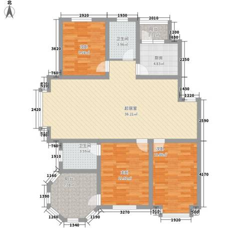 大禹城邦3室0厅2卫1厨132.00㎡户型图
