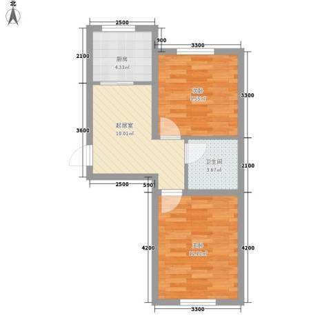 阳光新城三期中央街区2室0厅1卫1厨57.00㎡户型图